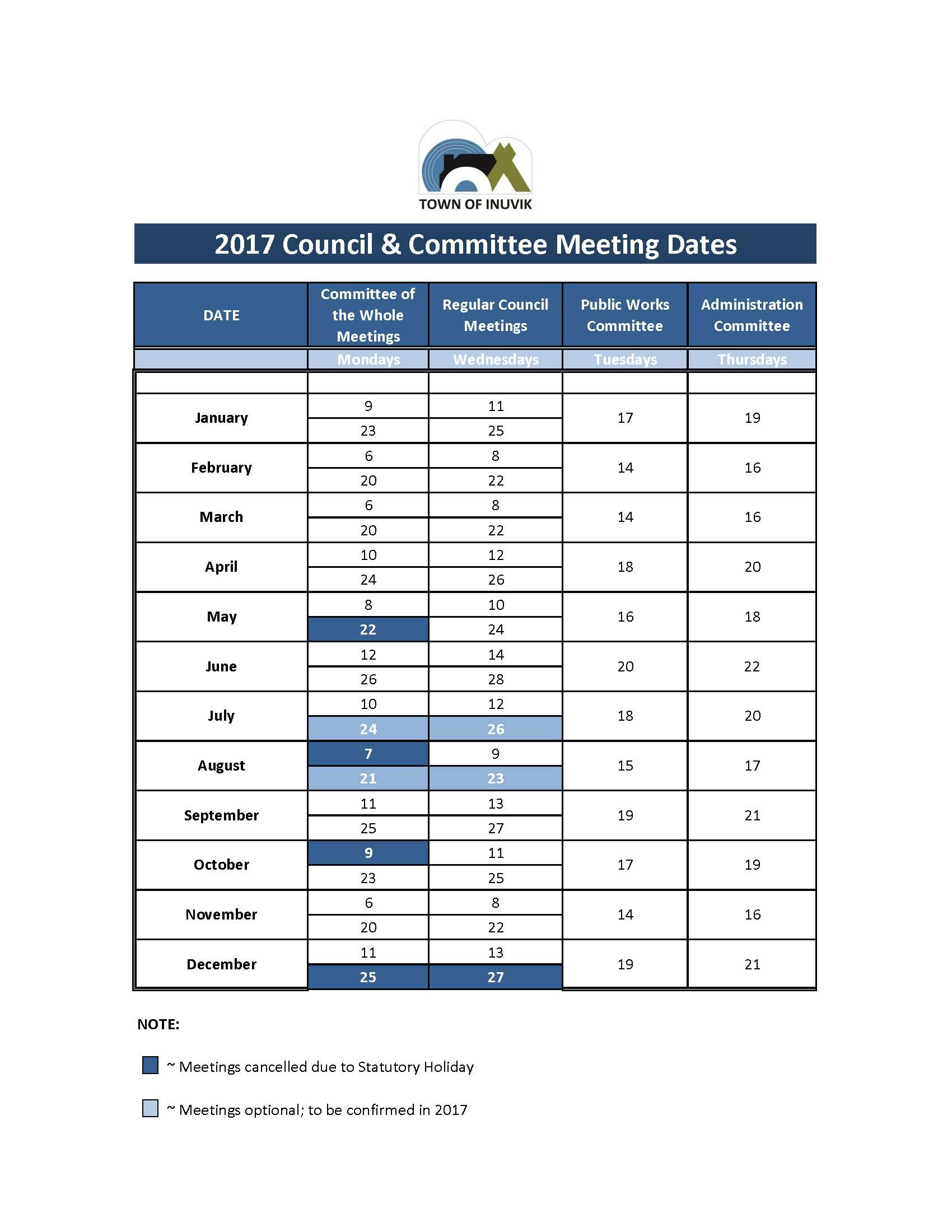 2017 Council and Committee Meeting Schedule